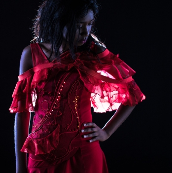 Red dress made by Bonnie Binary with LED electronic yarn